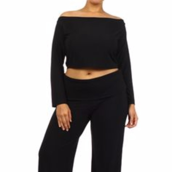 2b628ac943d GS LOVE Tops - OFF SHOULDER PLUS SZ CROP TOP PANT SET